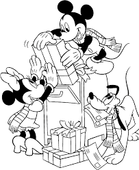 Mickey Mouse And Friends Send Gifts For Christmas Day Coloring Pages
