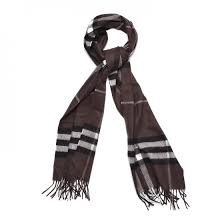 BURBERRY Cashmere Giant Check Fringe Scarf Bitter Chocolate 252401