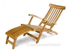 outdoor garden wooden steamer chair cotswold teak uk
