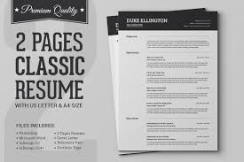 Two Pages Classic Resume CV Template Templates Creative Market