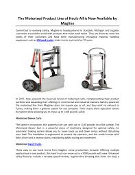 The Motorized Product Line Of Haulz-All Is Now Available By Magline ... Raymond 8310 Walkie Pallet Jack Electric 001 Hand Truck 6 Wheel Stair Climbing Tool Trolley Buy Eco Efet33sc Sfpropelled Weigh Scale Mobile Powered Mini 15t Engine By Heli Uk Folding Hand Truck For Stairways Transportation Motorized Powermate Electric Stairclimbing Trucks Blog Powered Rider Material Handling Equipment Used Yale Motorized Handpallet Multimover Youtube Transaxle Assembly Mpw 060080e Trucks 6000 8000 Lbs Mpwe