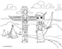 Indian Village Coloring Page