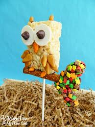 Rice Krispie Christmas Tree Pops by Fall Owl Rice Krispie Treat Pops Kitchen Fun With My 3 Sons