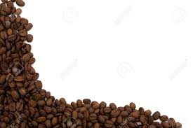 Coffee Beans On The Side Isolated White For A Border Stock Photo