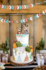 Very Cute Woodland Themed Baby Boys Shower Decoration With 2 Levels Cake Animal Figurines