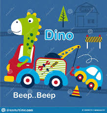 100 Dino Trucks And Tow Truck Funny Cartoonvector Illustration Stock Vector