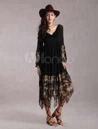 black boho dress long sleeve rayon maxi dress milanoo com
