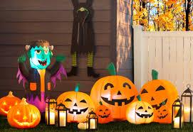 Halloween Decorated Pumpkins On Dark Rustic Background Copy Stock