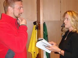 Newspaper Reporter Lori Nickel Interviews Aaron Kampman