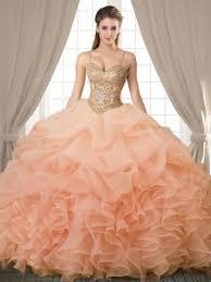 Fitting Floor Length Peach Dama Dress Organza Sleeveless Beading And Ruffles Pick Ups