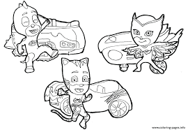 Pj Masks Coloring Pages To Print And Cars Colouring