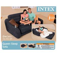 intex inflatable queen size pull out sofa bed dark gray 68566ep