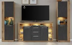 wohnwand schrankwand eiche wotan und grau 2x vitrinenschrank tv komforthöhe rock ebay