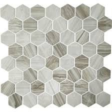 American Olean Porcelain Mosaic Tile by American Olean Entourage Crosswood Hexagon Glass Cr95 Seagull