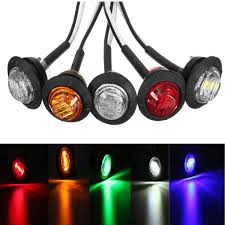 100 Truck Marker Lights Car Lorry Round Coloured LED Button Pack