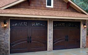 2 Single Car Garage Doors Finished In Rustic Distressed Mahogany Masterpiecedoors