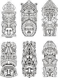 Coloriage De Totem Aztèque Plus Tattoo Totem Tattoo Mayan