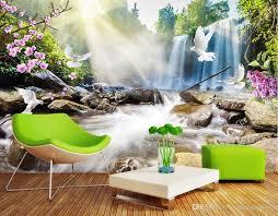 großhandel moderne 3d tapete wohnzimmer wand wasserfall landschaft kinder tapete wohnkultur wasserdichte tapete für badezimmer hohe qualität