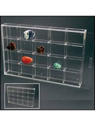 Quick View Rock Display Case Acrylic Glass Curio W 20 Compartments