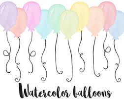 Watercolor Balloons Clip Art Hand Painted Pastel Watercolor Balloon Clip Art Birthday Balloon Illustration