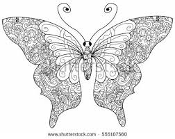 Butterfly Coloring Book For Adults Raster Illustration Anti Stress Adult Zentangle