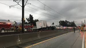 100 Semi Truck Pictures 210 Freeway Crash Truck Ends Up On Gold Line Tracks In