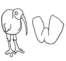 Kiwi Bird And Letter W Coloring Pages