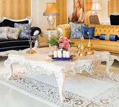 casa padrino luxus barock couchtisch beige weiß gold 145 x 145 x h 45 cm prunkvoller massivholz wohnzimmertisch mit edlen verzierungen barock