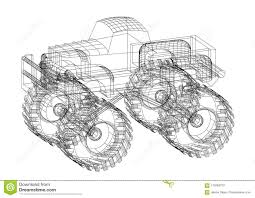 Monster Truck 3D Blueprint - Isolated Stock Photo - Image Of Drawing ...