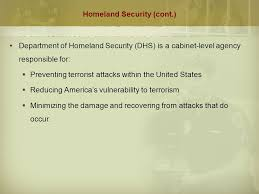 Cabinet Level Agencies Are Responsible To by Chapter 4 Criminal Justice In The New Millennium Terrorism
