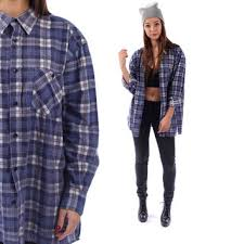 FADED FLANNEL Shirt 90s Plaid Grunge Lumberjack Navy Blue Oversize Long Sleeve Button Up Vintage Women