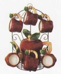 APPLE 9pc TEA Set Pot Cups W Iron Rack NEW Apple Kitchen DecorCountry