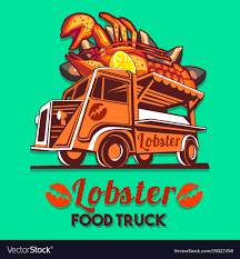 100 Lobster Truck Food Truck Lobster Seafood Salad Fast Delivery Vector Image