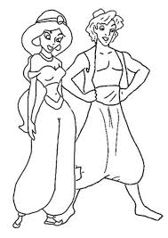 Jasmine And Aladdin Coloring Sheets