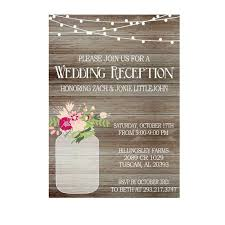 Rustic Wedding Reception Invitation With Lights Mason Jar Invite Only Printed Invitations Or Digital File