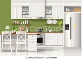 Interior Design Modern Kitchen Background 5 Stock Vektor Interior Background With Kitchen In Modern Rustic Style 5