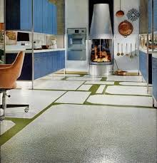 This Kitchen Ad Appeared In American Home The Mondrian Esque Design Blue Purple And White With Strong Lines Beams Cabinetry Is Classic