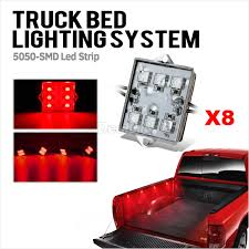 100 Truck Bed Lighting System 2pcs Pickup LED Strip Light Work Box Kit Red 6