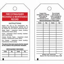 Fire Extinguisher Certificate Template Brady Part 65371 FIRE EXTINGUISHER RECHARGE MAINTENANCE RECORD Tags
