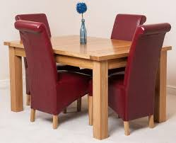 Seattle Solid Oak 150cm 210cm Extending Dining Table With 4 Montana Chairs Burgundy Leather