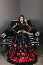sherri hill ball gown black ball gown with red roses lace satin