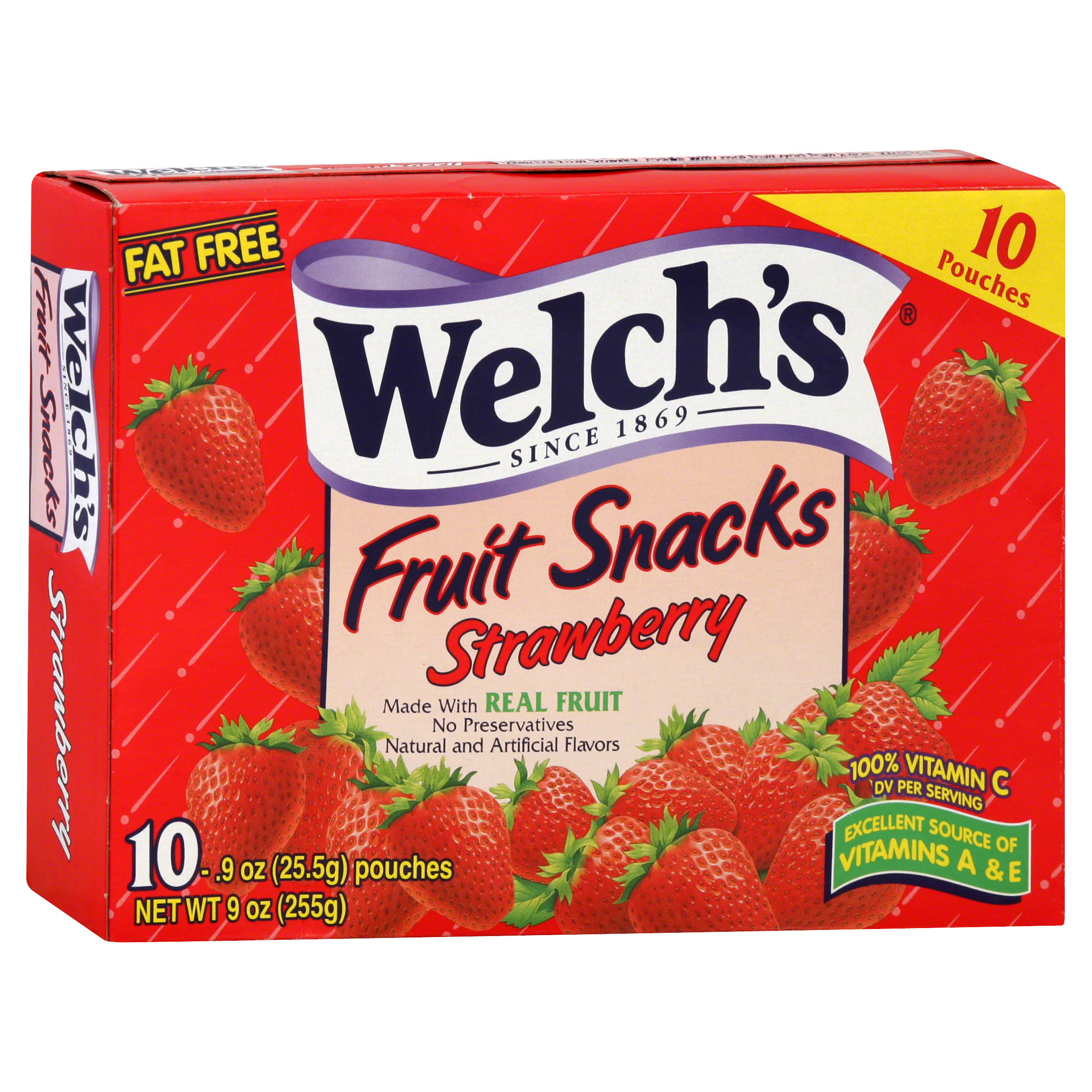 Welch's Fruit Snacks - Strawberry, 0.9oz, 10ct