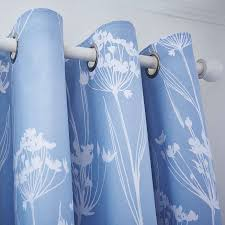 Blue Bryony Thermal Eyelet Curtains