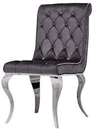 venedig chesterfield designer esstischstuhl esszimmerstuhl essstuhl esszimmer stuhl edelstahl samt silbergrau