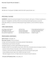 Resume Of Teacher Sample Preschool Samples Teaching Examples