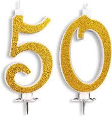 maxi kerzen 50 jahre für kuchen geburtstag hochzeit 50 jahre dekoration glückwunsch torte 50 themenparty höhe 13 cm gold glitter
