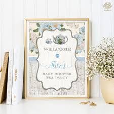Vintage Baby Shower Tea Party Welcome Sign Blue Floral High Tea PRINTABLE Shower Decor Shabby Flowers Decorations Shower Centerpiece TEA2