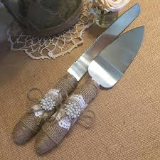 Cake Server And Knife Set Burlap Wedding Rustic Cutting Decor