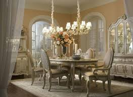 White Paint Colors For Dining Room Design In Classic Style Two Large Chandeliers Vintage Furniture And Floral Table Centerpiece