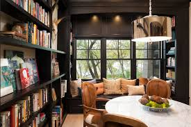 Dining Room Library Transitional With Window Seat Square Counter Height Stools